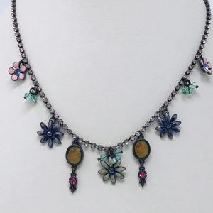 Vintage Enameled & Rhinestone Charm Necklace